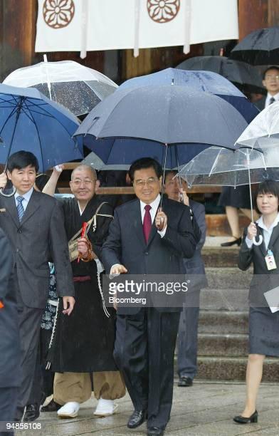 Hu Jintao China's president center leaves the Horyuji temple in Ikaruga Town Nara Prefecture Japan on Saturday May 10 2008 Japan and China haven't...