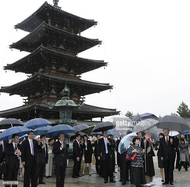 Hu Jintao China's president rightarrives at the Horyuji temple in Ikaruga Town Nara Prefecture Japan on Saturday May 10 2008 Japan and China haven't...
