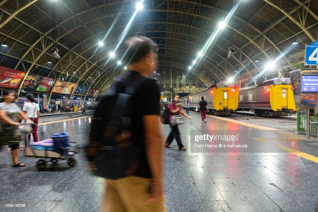 Hua Lamphong Station of State Railway of Thailand in Bangkok city : Stock-Foto