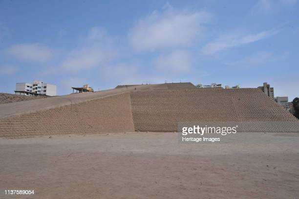 Huaca Huallamarca and city skyline, possibly from Quechua wak'a a local god of protection, a sacred object or place / sacred Walla a people, marka...