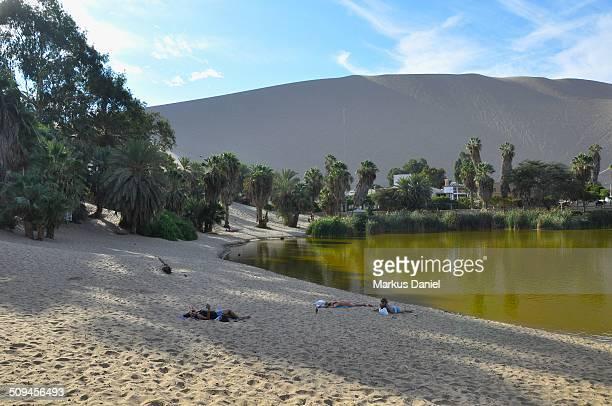 """huacachina oasis lake and dune, ica, peru - """"markus daniel"""" - fotografias e filmes do acervo"""