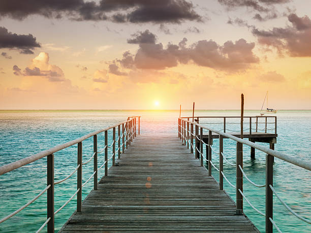"""""""Huahine Sunset Scene at Jetty, French Polynesia"""""""