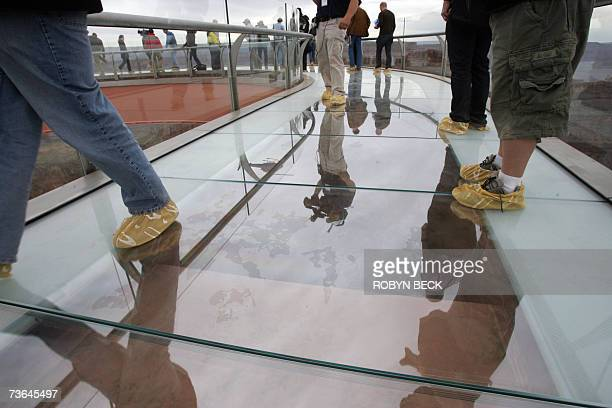 Hualapai Indian Reservation UNITED STATES Members of the media walk on the Skywalk at Grand Canyon West following the opening ceremony on the...