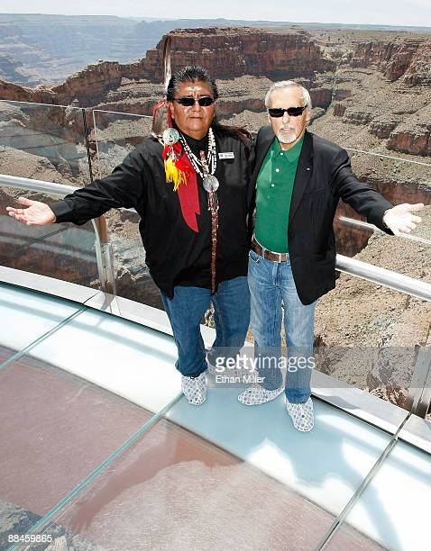 Hualapai representative Wilfred Whatoname Jr and actor and chair of the CineVegas creative advisory board Dennis Hopper pose at the Grand Canyon...