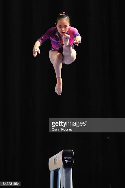 Huan Luo of China performs on the Beam during the World Cup Gymnastics at Hisense Arena on February 25, 2017 in Melbourne, Australia.
