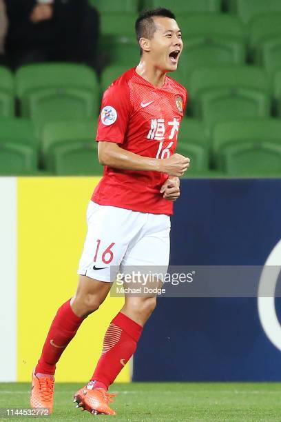 Huang Bowen of Guangzhou Evergrande celebrates a goal during the round 1 AFC Champions League Group F match between Melbourne Victory and Guangzhou...