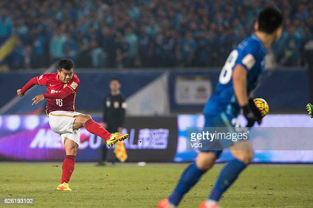 Huang Bowen of Guangzhou Evergrande shoots during the final second leg of Yanjing Beer 2016 Chinese Football Association Cup between Guangzhou...