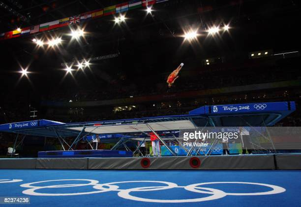 Huang Shanshan of China competes in the Women's Trampoline Qualification at the National Indoor Stadium on Day 8 of the Beijing 2008 Olympic Games on...