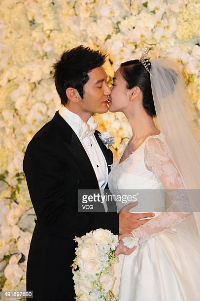 Huang Xiaoming and Anglababy during their wedding ceremony at Shanghai Exhibition Center on October 8 2015 in Shanghai China