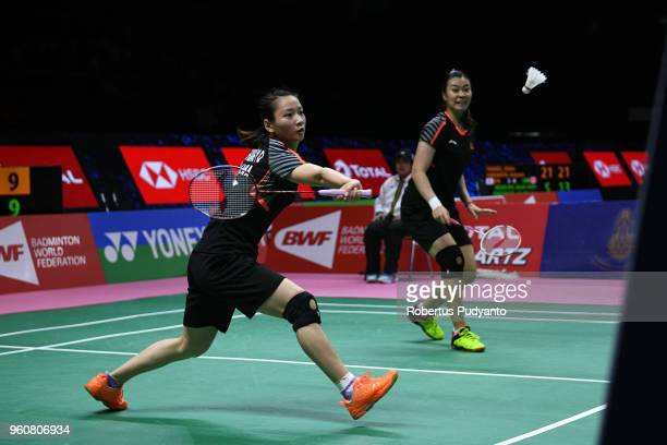 Huang Yaqiong and Tang Jinhua of China compete against Delphine Delrue and Lea Palermo of France during Preliminary Round on day two of the BWF...