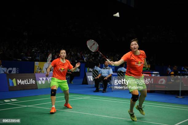 Huang Yaqiong and Yu Xiaohan of China compete against Yuki Fukushima and Sayaka Hirota of Japan during Womens Double Round 2 match of the BCA...
