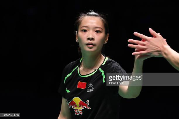 Huang Yaqiong of China celebrates in the Finals match partnered with Lu Kai against Choi Solgyu and Chae Yoo Jung of China during the Sudirman Cup at...