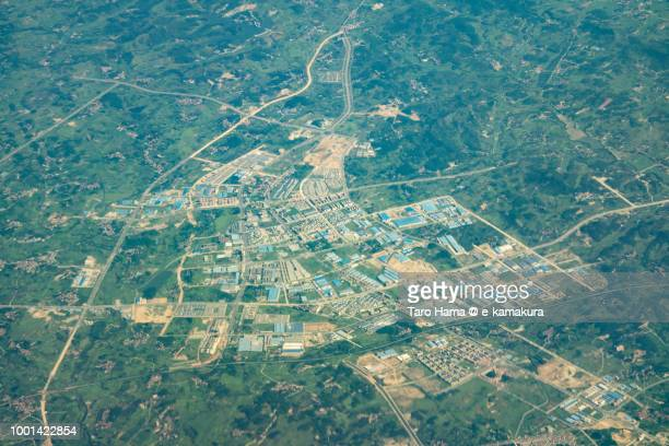 Huanggang City in Hubei Province in China daytime aerial view from airplane