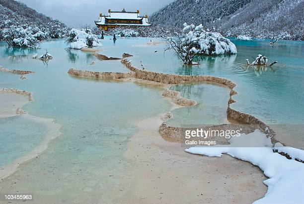 Huanglong Temple and Five-Colored Pool, Huanglong National Park, Sichuan Province, China