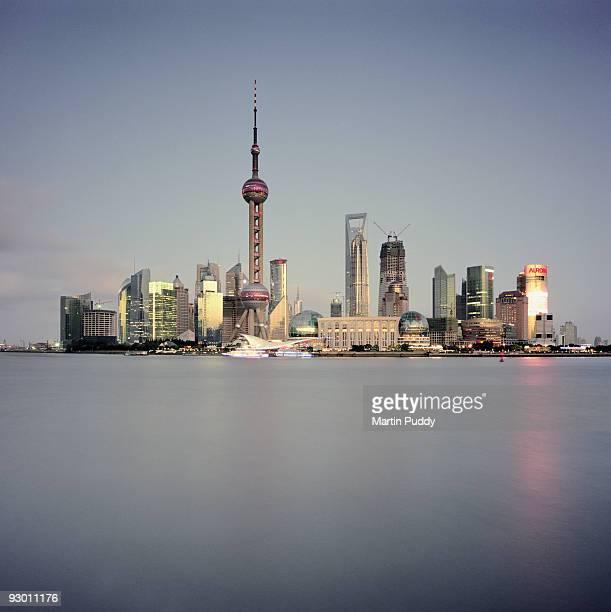 Huangpu River, And Pudong Skyline.