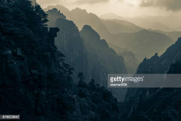 Huangshan chinese mountain path landscape in China filtered to look like film vintage style