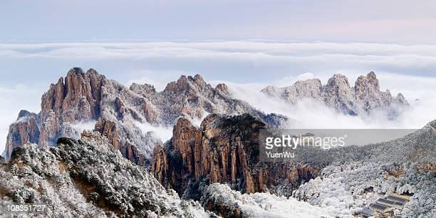 huangshan mountain winter morning - lotus flower peak stock pictures, royalty-free photos & images