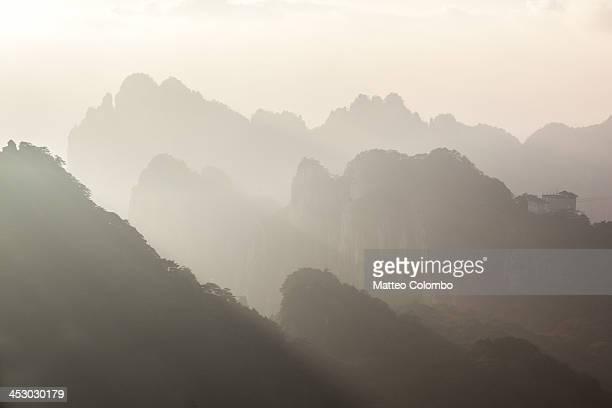 Huangshan mountains landscape at sunset, China