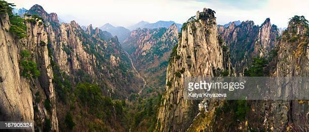 huangshan mountains panorama - lotus flower peak stock pictures, royalty-free photos & images