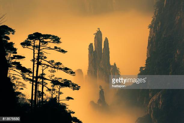 huangshan with sea of clouds, anhui province, china - anhui province stock pictures, royalty-free photos & images