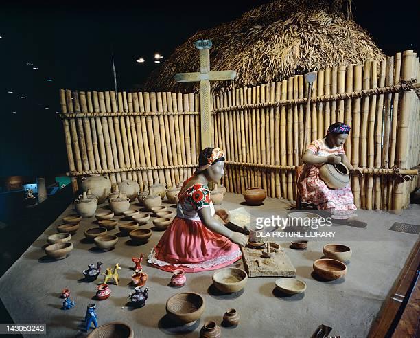 Huasteche women working on Nahua pottery Mexico