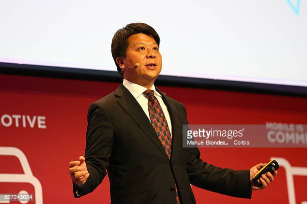Huawei CEO Guo Ping delivers his keynote conference during the Mobile World Congress at the Fira Gran Via complex in Barcelona Spain on February 22...
