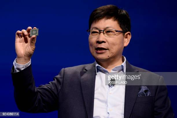 Huawei CEO Richard Yu gives a press conference to present the new Huawei Balong 5G01 a 3GPP 5G commercial chipset on February 25 2018 in Barcelona on...