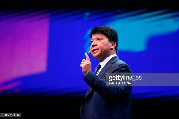 Huawei chairperson Guo Ping delivers a keynote speech at the Mobile World Congress in Barcelona on February 26 2019 Phone makers will focus on...