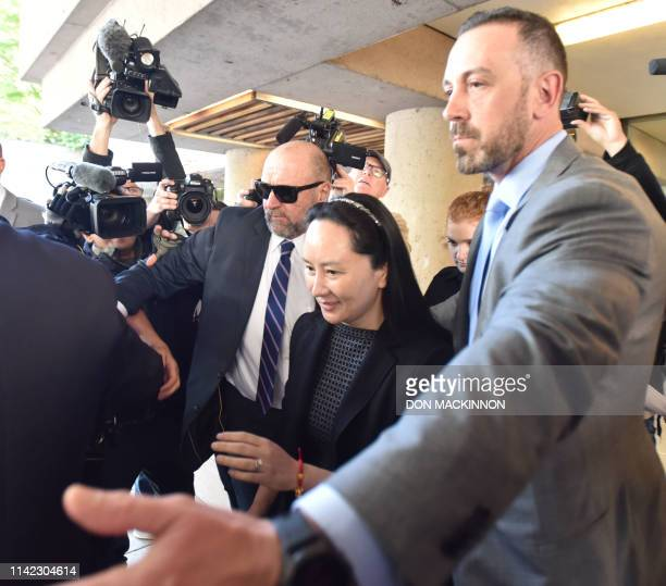 Huawei Chief Financial Officer Meng Wanzhou leaves British Columbia Supreme Court in Vancouver on May 8 2019 Meng whose Vancouver arrest on a US...