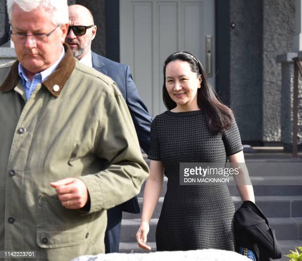 Huawei Chief Financial Officer Meng Wanzhou leaves her residence to attend British Columbia Supreme Court in Vancouver on May 8 2019 Meng whose...