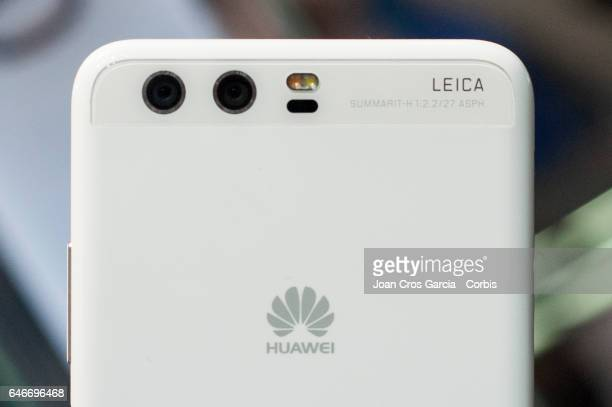 Huawei display the new Huawei P10 with 2 rear Leica cameras during the Mobile World Congress, on February 28, 2017 in Barcelona, Spain.