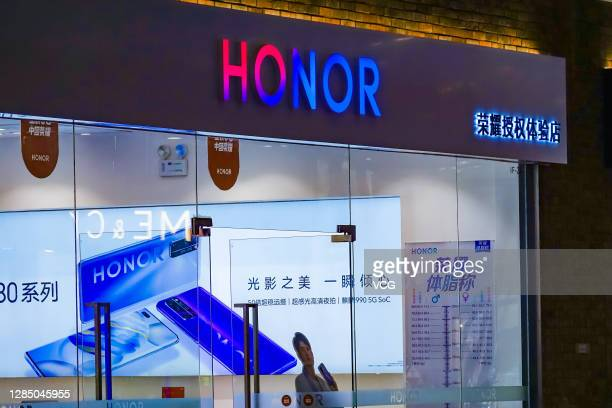 Huawei Honor store is pictured on October 21, 2020 in Qingdao, Shandong Province of China.