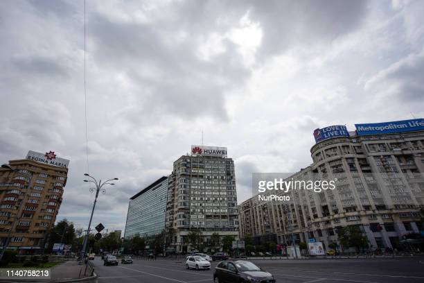 A Huawei logo is seen on top of an office building in Bucharest Romania on May 1 2019
