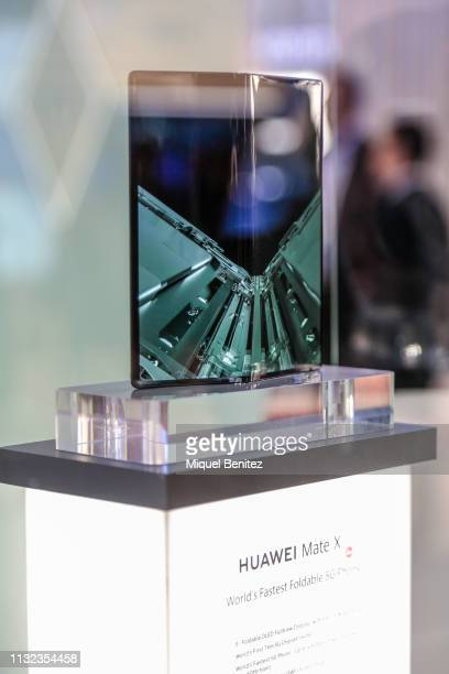 Huawei Mate X foldable phone is seen during GSMA MWC 2019 The MWC2019 Mobile World Congress The presence of devices prepared to manage 5G...