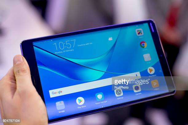 Huawei Mediapad 5 tablet Thousands of people participate in the Mobile World Congress 2018 in Barcelona Spain from February 26 to March 1 2018