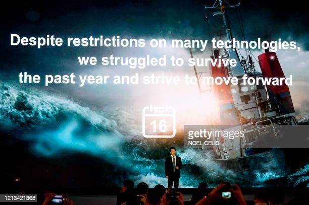 Huawei rotating chairman Guo Ping speaks during the Huawei Global Analyst Summit 2020 at the Huawei headquarters in Shenzhen China's southern...