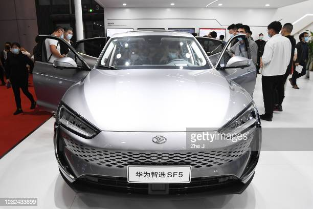 Huawei SF5 car is on displayed during the 19th Shanghai International Automobile Industry Exhibition, also known as Auto Shanghai 2021, at National...