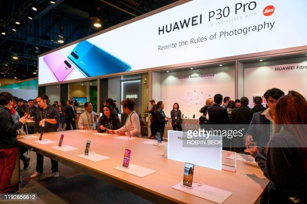 Huawei smartphones are displayed January 8 2020 at the 2020 Consumer Electronics Show in Las Vegas Nevada