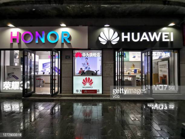 Huawei store and an Honor store are seen on September 16, 2020 in Wuhan, Hubei Province of China.