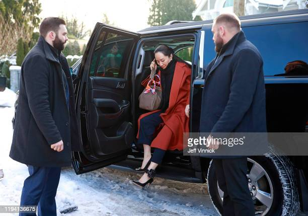 Huawei Technologies Chief Financial Officer Meng Wanzhou exits her vehicle at her home after her court appearance on January 17, 2020 in Vancouver,...