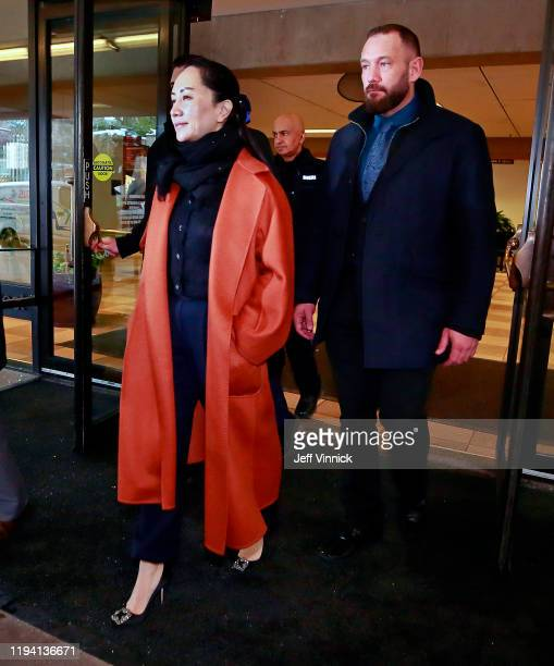 Huawei Technologies Chief Financial Officer Meng Wanzhou exits the building after her court appearance on January 17, 2020 in Vancouver, Canada.The...