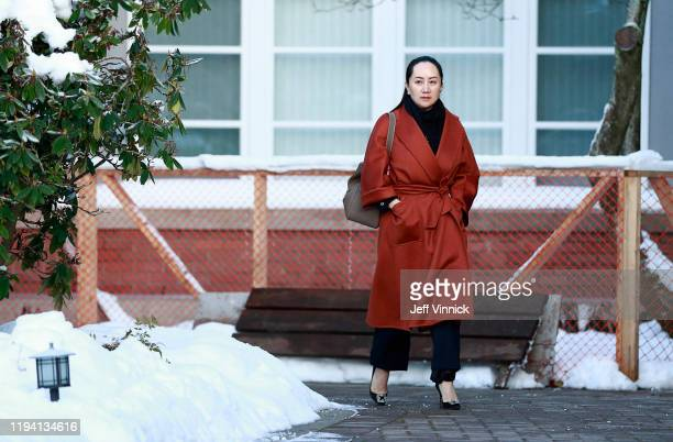 Huawei Technologies Chief Financial Officer Meng Wanzhou leaves her house on her way to a court appearance on January 17 2020 in Vancouver Canada The...