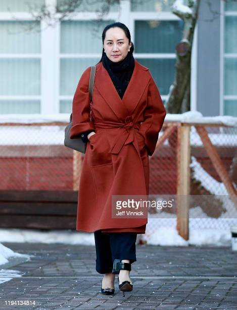 Huawei Technologies Chief Financial Officer Meng Wanzhou leaves her house on her way to a court appearance on January 17, 2020 in Vancouver, Canada....