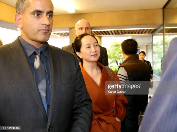 Huawei Technologies Co Chief Financial Officer Meng Wanzhou arrives at the British Columbia Superior Courts after lunch on September 23 2019 in...