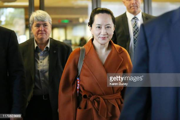 Huawei Technologies Co. Chief Financial Officer Meng Wanzhou leaves the British Columbia Superior Courts at lunch hour on September 23, 2019 in...
