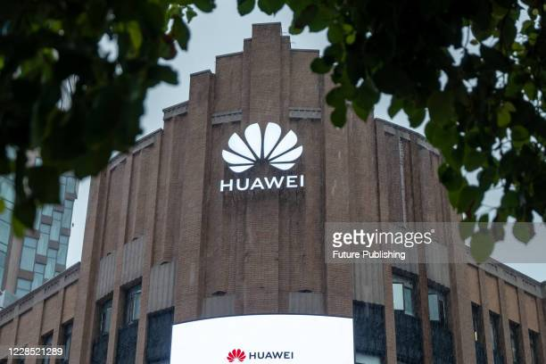 Huawei's global flagship stores are in normal operation on rainy days. Shanghai, China, September 15, 2020. The new US ban on Huawei took effect on...