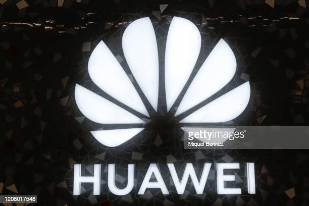 Huawei's logo is seen during the inauguration of the Huawei Flag Ship Barcelona at Plaça Catalunya on February 22 2020 in Barcelona Spain