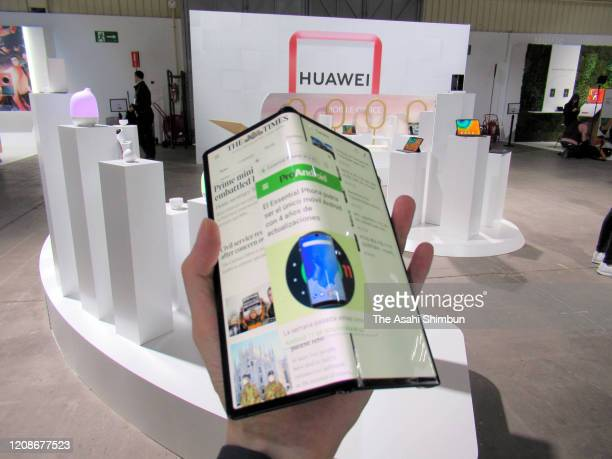 Huawei's Mate Xs is displayed during its new product unveiling press conference on February 24 2020 in Barcelona Spain