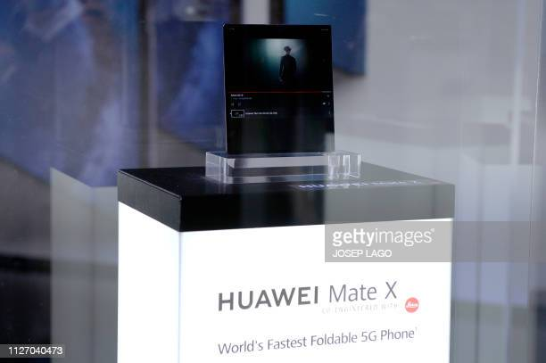 Huawei's new foldable 5G smartphone MateBook X Pro is displayed at the Mobile World Congress on the eve of the world's biggest mobile fair on...