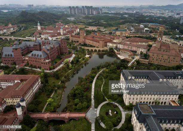 Huawei's new sprawling 'Ox Horn' Research and Development campus is seen from the air on April 12 2019 in Dongguan near Shenzhen China Huawei is...